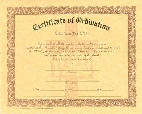 Blank Ordination Certificate for Ministry