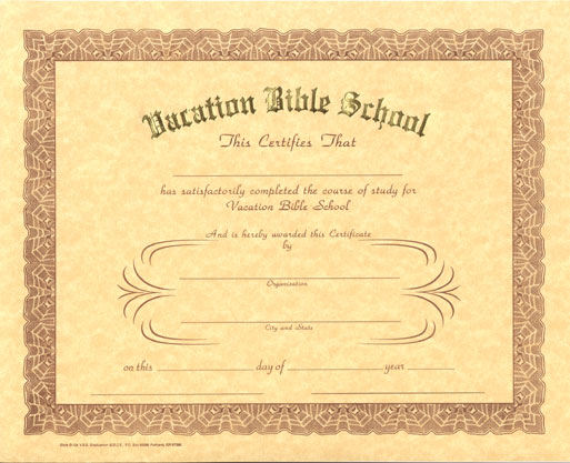 Vacation Bible School Attendance Certificate Printable